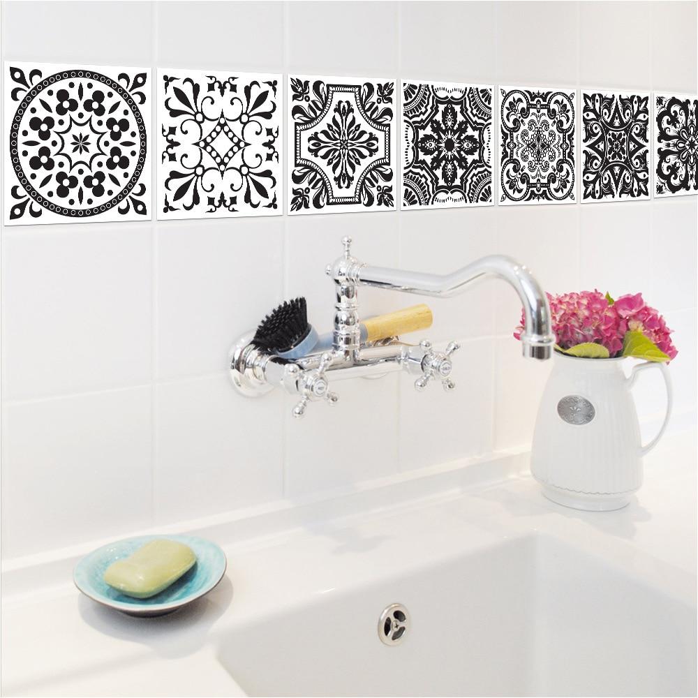 10PCS/Set PVC Tile Stickers Black White European Retro Patterns ...