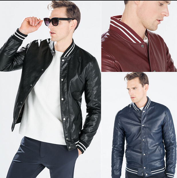 2015 ZA New Collection Fashion Man PU Faux Leather with Knitted Collar Thick Baseball Jacket 4341/470 Maroon Black Blue Color XL