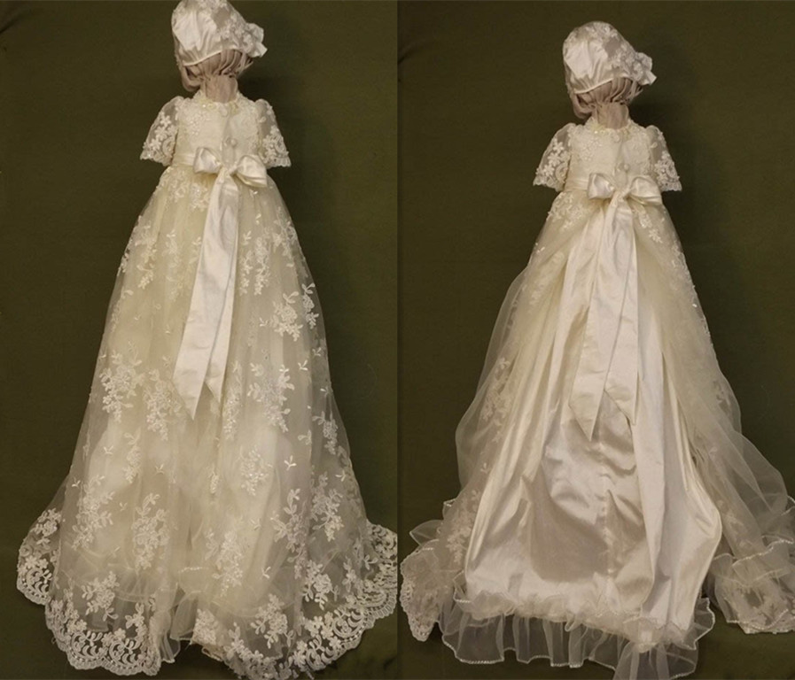 White Ivory Lace Baby Girls Long Christening Gown with Bonnet Size 3 6 9 12 18 24monthsWhite Ivory Lace Baby Girls Long Christening Gown with Bonnet Size 3 6 9 12 18 24months