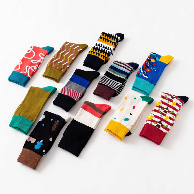2018 na co dzień geometria paskiem śmieszne szalony Hipster zima Sox kobiety Streetwear nowe szczęśliwe skarpety marki męskie bawełniane grube ciepłe skarpety