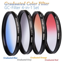 Graduated Colour Filter Camera Lens Kit Photography GC Filter Graduate Blue/Grey/Red/Orange Density Filter for Canon Nikon Sony