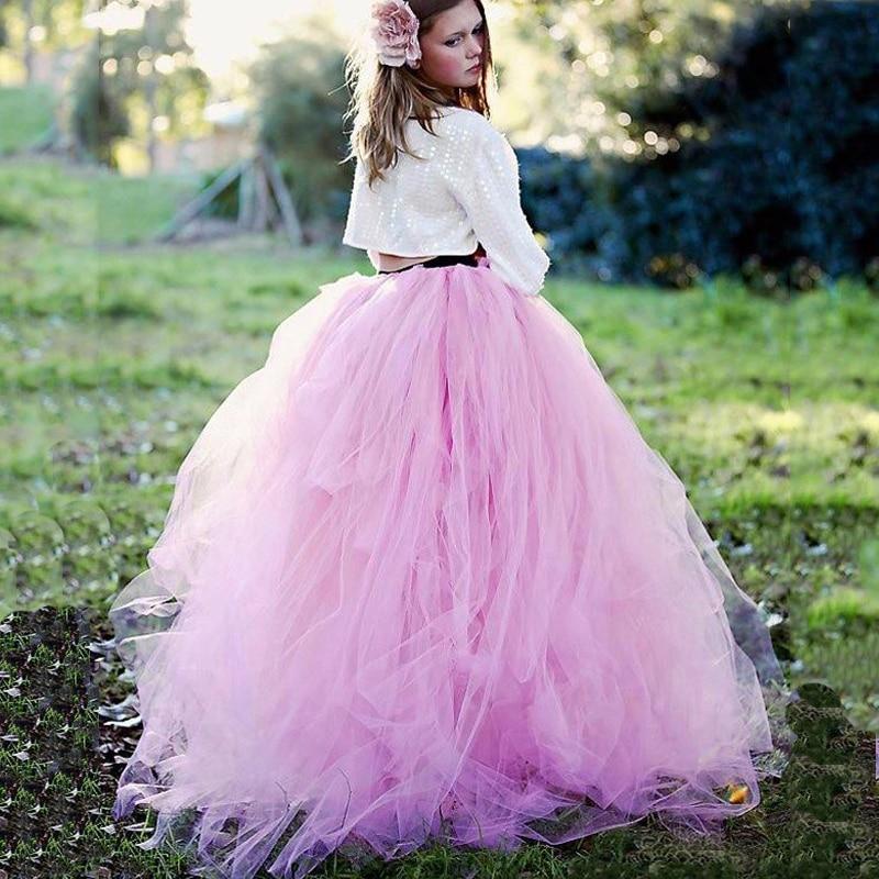 Trendy Lange Tutu Roze Lila Rok Saia Faldas Sweety Lady Bridal Zachte Maxi Rok Plus Size Beschikbaar Zomer Sunshine Garden meisje-in Rokken van Dames Kleding op  Groep 1