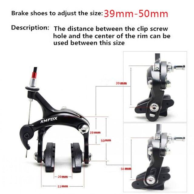 XMFOX-AS2.1 Bicycle Brake Racing Road Dual Pivot Bike Aluminum Side Pull Caliper Brake Front & Rear with brake pads