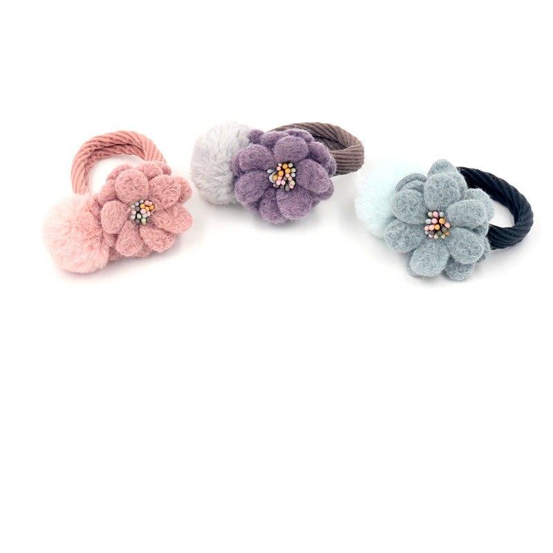 Fashion Cashmere Stretch Hair Ring Literary Wool Felt Hair Rope Plush Ball Head Rope Female Elastic Rubber Band Hair Accessories