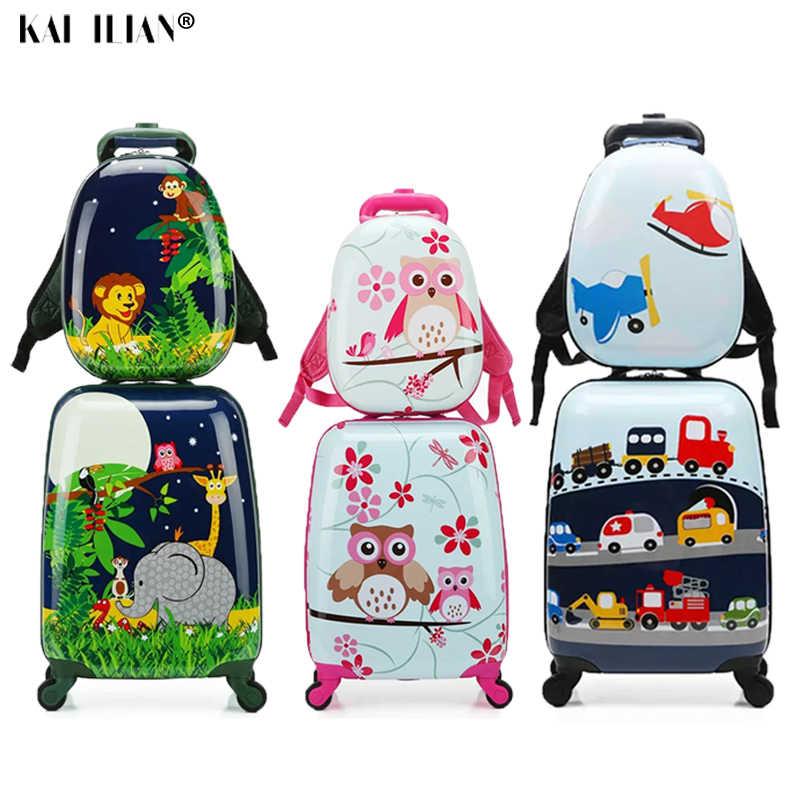 18/19/20 zoll Nette Cartoon Kind Roll Gepäck Set Spinner Koffer Räder Student Tragen auf Trolley Kinder mädchen junge reisetasche
