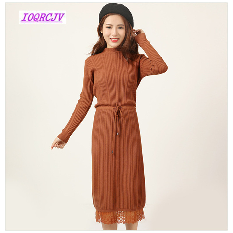 2018 décontracté Long tricot pull robe dames robes hiver automne femmes Slim pull longue robe dentelle bord Bandage robe B108