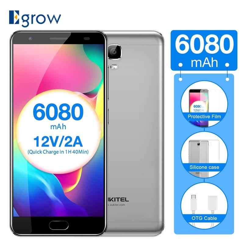 Original Oukitel K6000 Plus Android 7.0 MTK6750T Octa Core Dual SIM 4GB+64GB Fingerprint Touch ID 6080mAh 12V/2A Mobile Phone