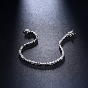 Image 3 - Élégant pur argent Sterling 7 pouces Tennis Bracelets bijoux réglage 2mm rond cristal luxe éternel 925 zircone bijoux