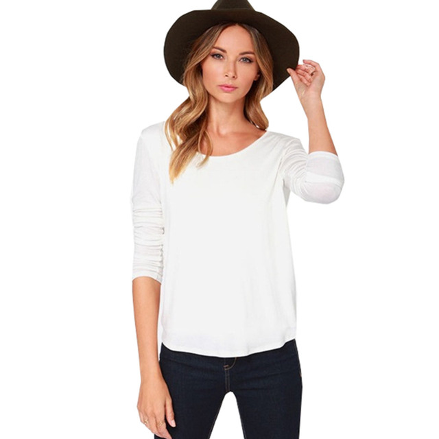 c0e2b08dfe676 2017 New Women Sexy Backless V Neck Draped Long Sleeve Slim Fit T Shirt  Casual Solid Holiday Tops Plus Size