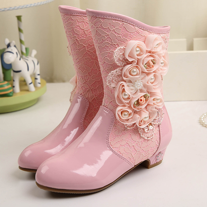 ФОТО High Quality 2016 winter Fashion Elegant Princess Boots flower Crystal zip Shoes Girls Snow Boots  Waterproof High Boots