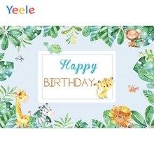 Yeele Cartoon Leaves Monkey Animals Baby Birthday Party Photography Background Customized Photographic Backdrop For Photo Studio