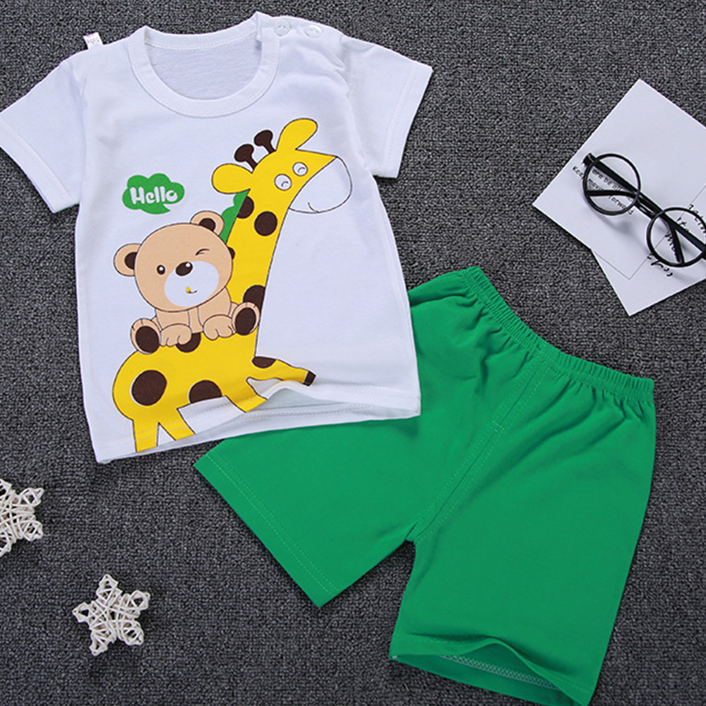 2018 Summer Cotton Kids Clothes Cute Cartoon Print Short Sleeves Boy Clothes T Shirt Pants Sets Comfort Baby Children Clothing