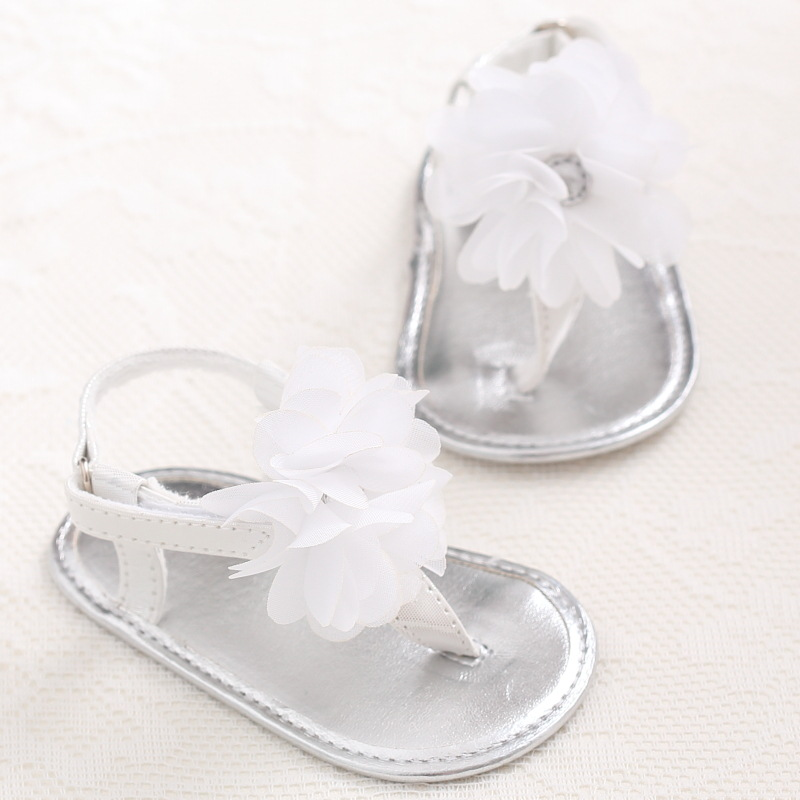New Summer Sweet Big Flower PU Leather Infants Toddler Newborn Baby Girl Princess Shoes Crib First Walkers Shoes Footwear Thongs ...