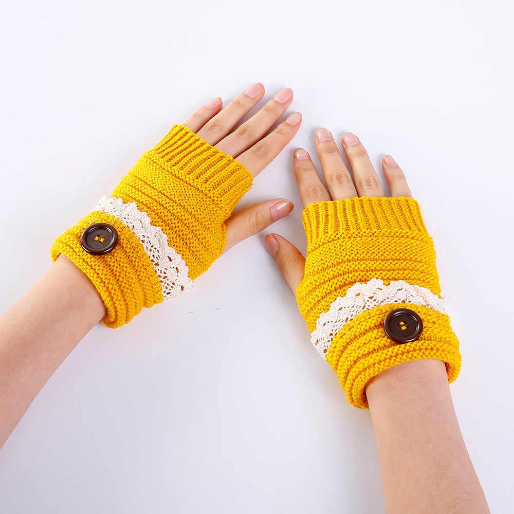 f72f209ea ... Fashion Women Winter Short Lace Button Warmer Knitted Fingerless Gloves  Mitten 2018 girl lady cute warm ...