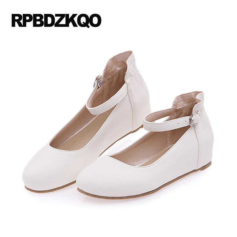 Cheap 10 Custom Round Toe Women Ladies Ankle Strap Size 43 Plain 2017 Flats Mary Jane Large White Beautiful Shoes Latest odetina 2017 new summer ankle strap ballet flats buckle women mary jane shoes round toe casual flat shoes sweet big size 34 43