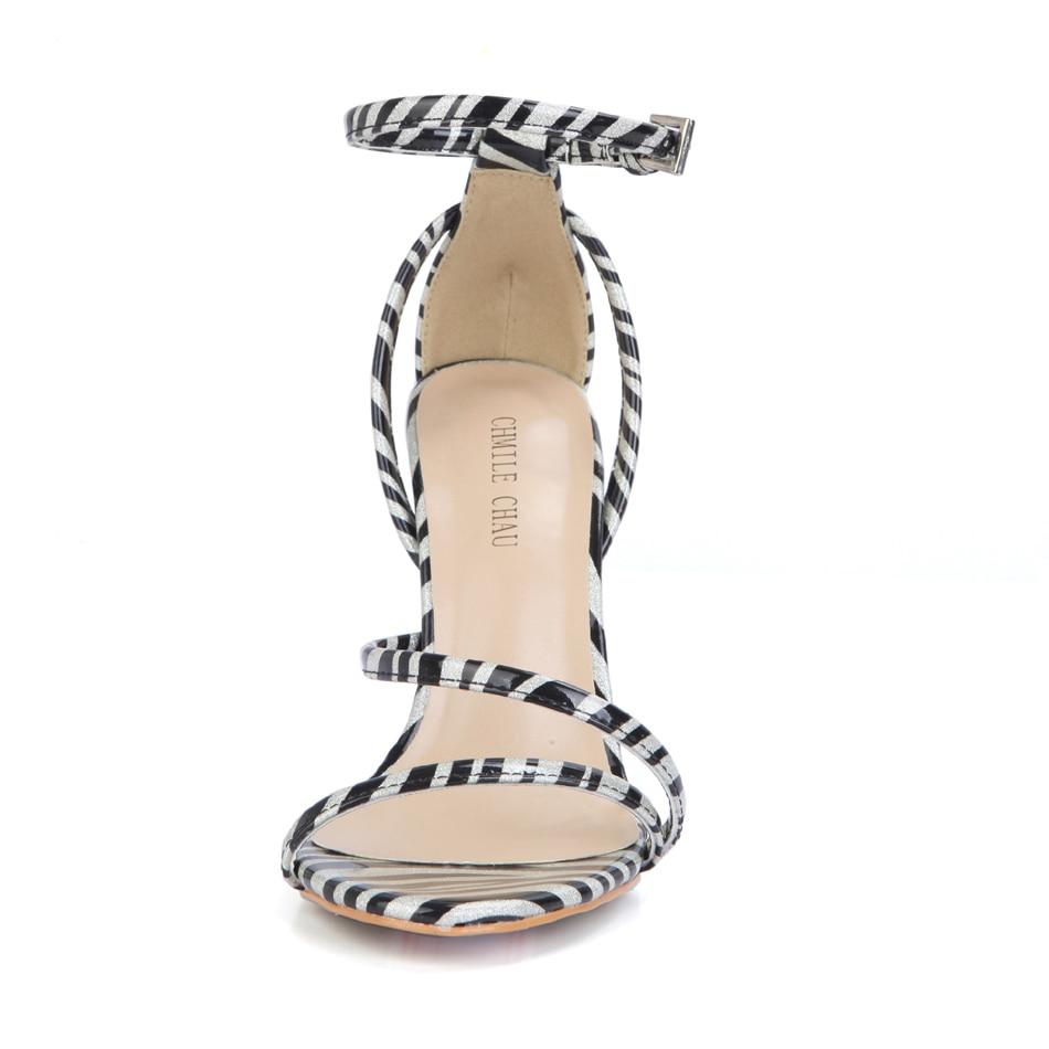 CHMILE CHAU Zebra Sexy Party Sandals Women Ankle Strap Stiletto High Heel Shoes Sandales Talon Femme Zapatos de Noche 5186 9j in High Heels from Shoes