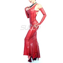 Latex Rubber mermaid Dress sexy club long dresses  longuette red color eveningwear evening clothes tranparent noblewoman