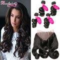 Peruvian Loose Wave Wavy Hair With 360 Lace Frontal 4 Bundles Loose Curly Peruvian Virgin Hair With Frontal Closure Human Hair