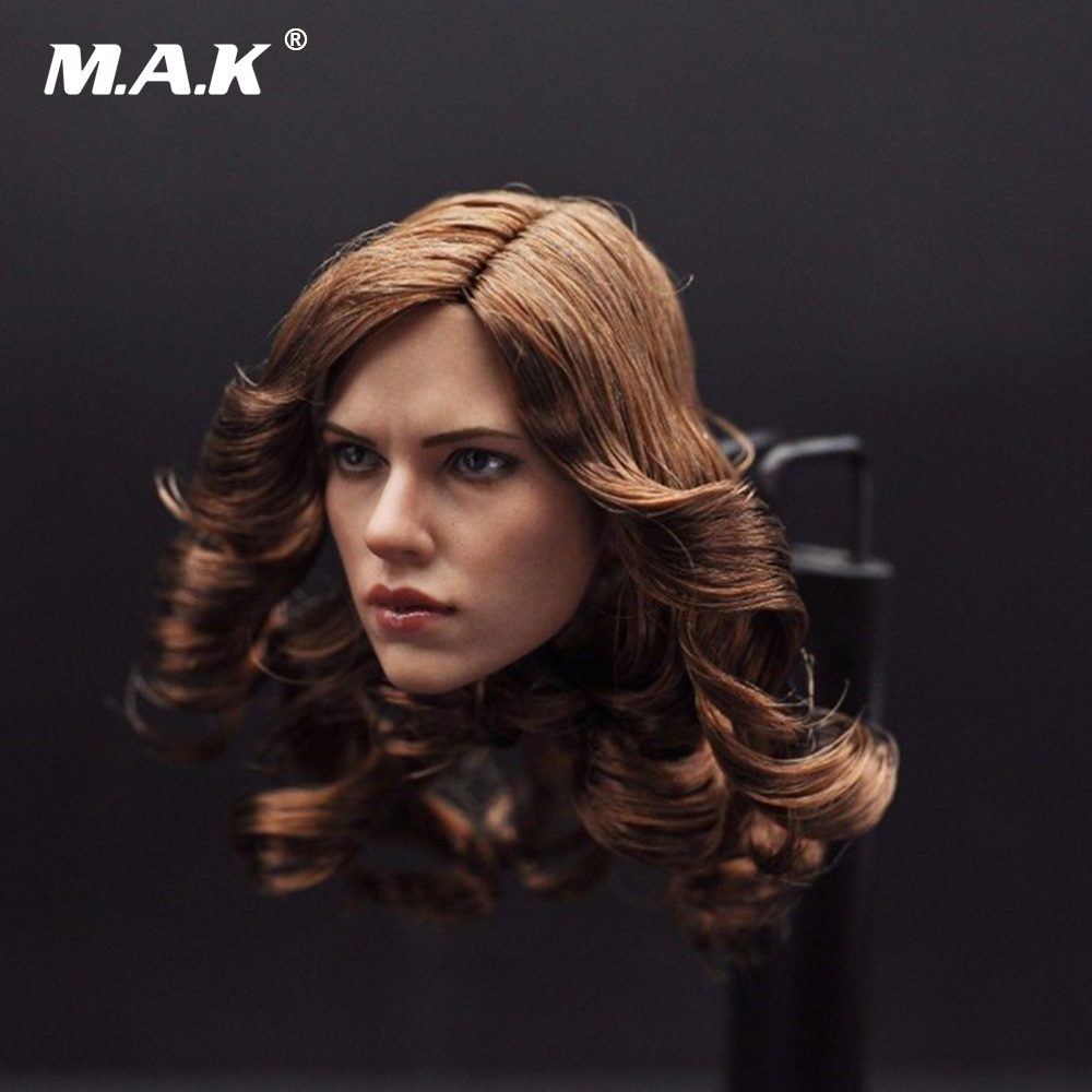 1:6 Scale Scarlett Johansson Head Sculpt Brown Curly Hair Female Headplay Model Toys for 12'' Action Figure Body mak custom 1 6 scale hugh jackman head sculpt wolverine male headplay model fit 12kumik body figures