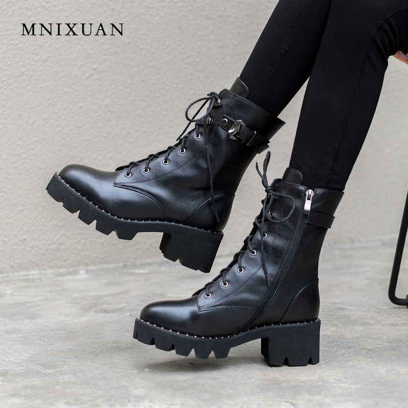 MNIXUAN Martin boots for women ladies shoes ankle boots 2018 autumn platform real leather zipper lace up motorcycle boots size10