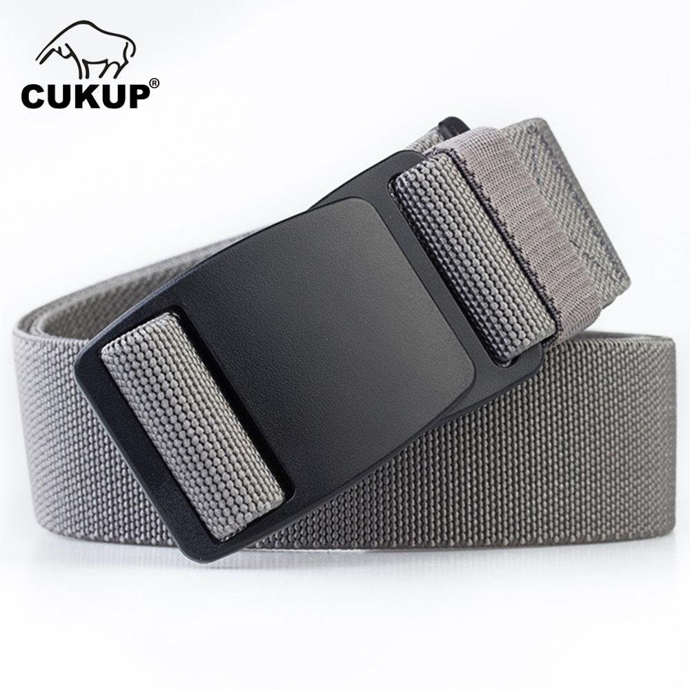 CUKUP 2018 Brand Unisex No Metal Plastic Steel POM Buckle   Belt   High Quality Canvas Elastic   Belts   Waistband Leisure Men CBCK120