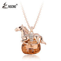 2017 New Horse Pendant Statement Necklace 4 Colors Crystal Animal Choker Necklace For Women Fashion Jewelry