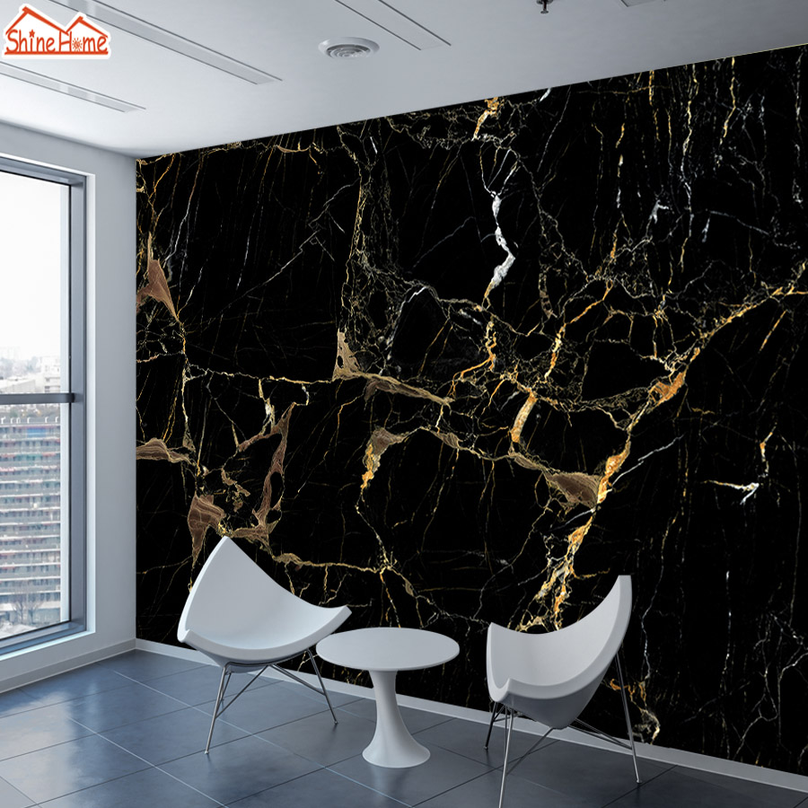8d Silk Black Gold Marble Mural Photo Wallpaper 3d Contact Wall Paper Papers Home Decor Wallpapers For Living Room TV Murals Art