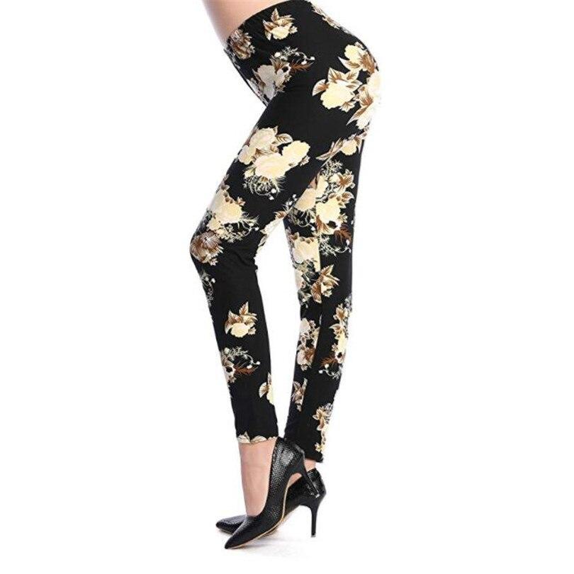 Plus Size Legings Print Flower Guitar Plaid Thin Pant Fashion Women Sexy Legging Push Up Trousers