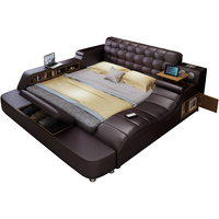 ProCARE Genuine leather frame Soft Beds massager storage