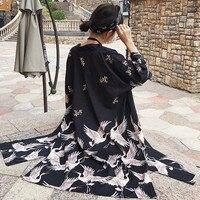 Корейский стиль Харадзюку цифра печати 2018 Лето кимоно длинный кардиган feminino верхняя одежда тонкая защита от солнца пальто женские (B1638)