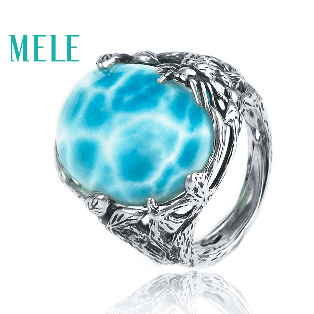 Natural larimar silver ring oval 15mm 20mm blue ocean color forest style trendy jewelry for women