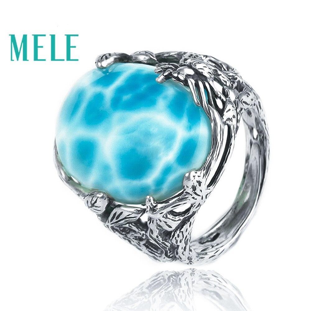 Anillo de plata larimar Natural, ovalado de 15mm * 20mm, color azul océano, estilo bosque, joyería de moda para mujeres y hombres-in Anillos from Joyería y accesorios    1