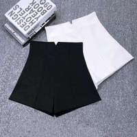 Белый черный стрейч костюм шорты женские новые мини шорты женские шорты с высокой талией Элегантные широкие летние шорты C5378