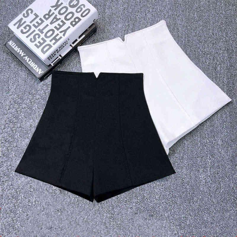 Biały czarny Stretch szorty kobiety nowy Mini krótki Femme wysokiej talii szorty kobiet Hotpants eleganckie szerokie nogawki letnie szorty c5378