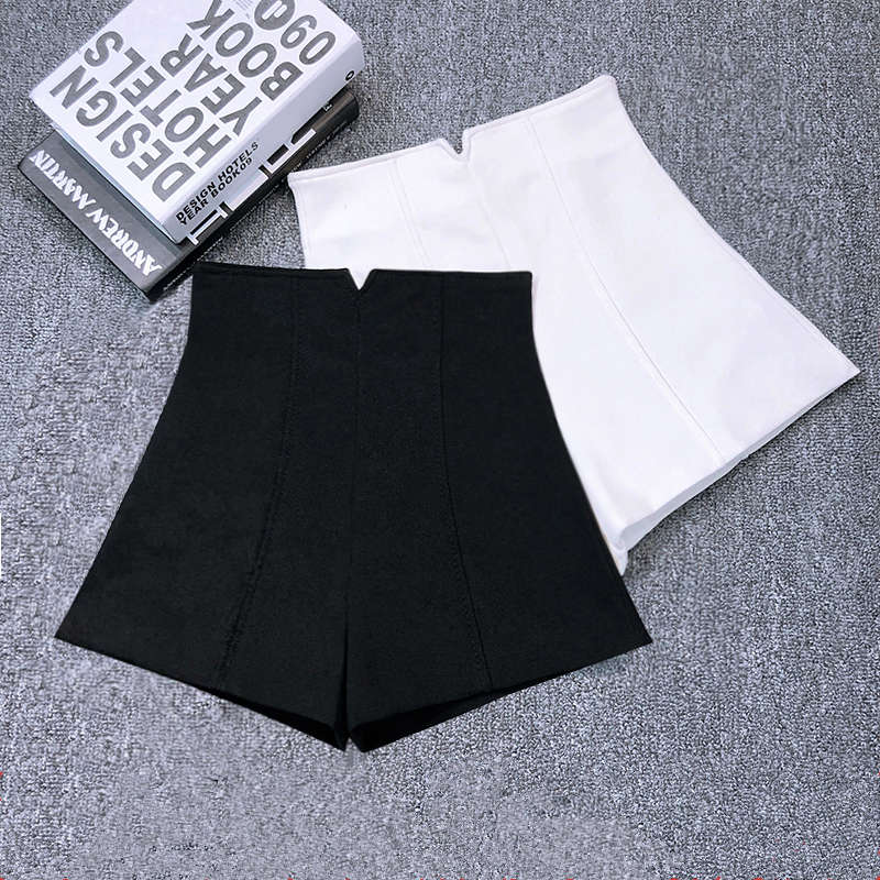 White Black Stretch Suit   Shorts   Women New Mini   Short   Femme High Waist   Shorts   Women Hotpants Elegant Wide Leg Summer   Shorts   C5378