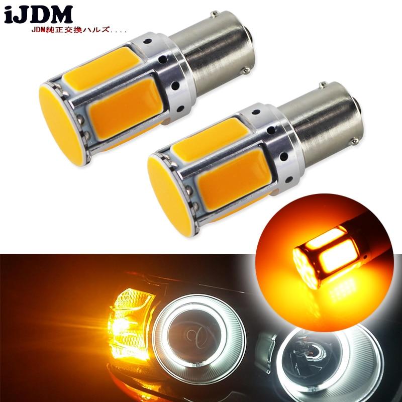 2 pces nenhum resistor exigido amarelo âmbar cob led bau15s 7507 py21w 1156py lâmpadas led para luzes de sinal de volta frontal (nenhum flash hiper)
