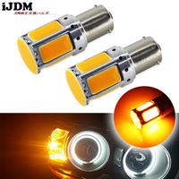 2pcs No Resistor Required Amber Yellow COB LED BAU15S 7507 PY21W 1156PY LED Bulbs For Front