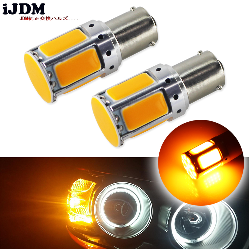 цена на 2pcs No Resistor Required Amber Yellow COB LED BAU15S 7507 PY21W 1156PY LED Bulbs For Front Turn Signal Lights(No Hyper Flash)