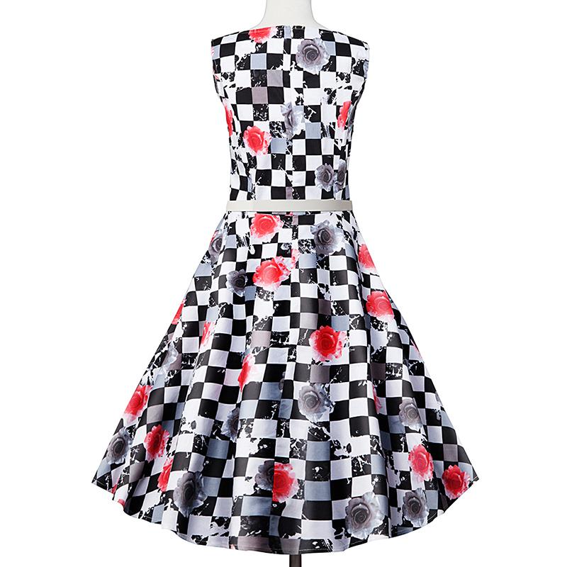 Kostlish Elegant Print Women Summer Dress Sleeveless Cotton Hepburn 50s 60s Vintage Dress With Belt Casual A-Line Ladies Dresses (36)