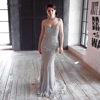 fcad2f5265815 Robe De Soiree Mermaid Abiye Uzun Parti Altın Kırmızı Kraliyet Mavi Kristal  Afrika Resmi balo kıyafetleri gece elbisesi 2019