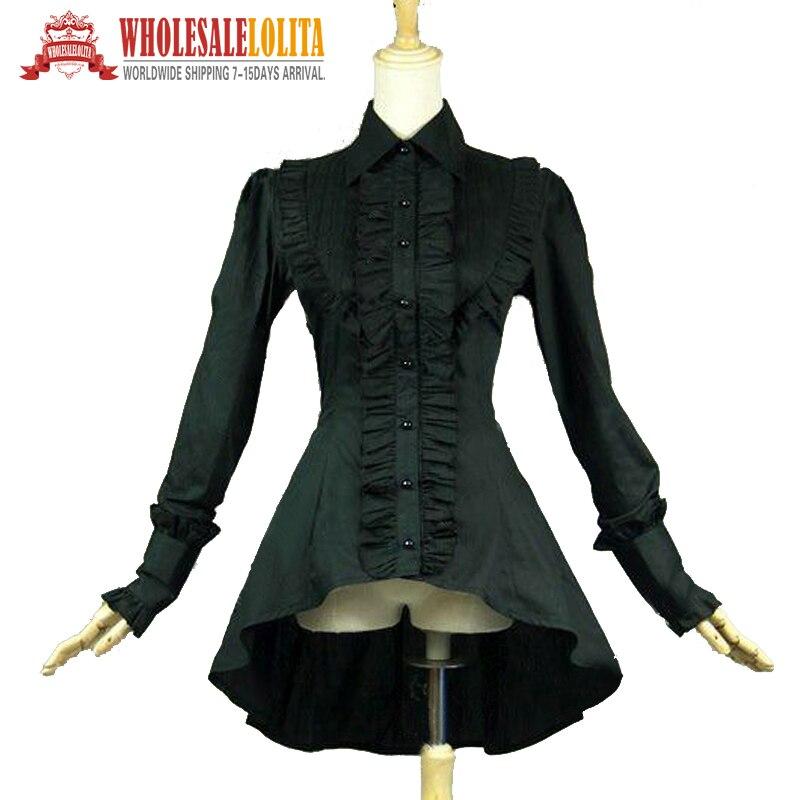 Vêtements Chemise À Edwardian Victorien Femmes Noir Romantique Punk Steampunk Sorcière Blouse Top Gothique Volants xIOqAFa