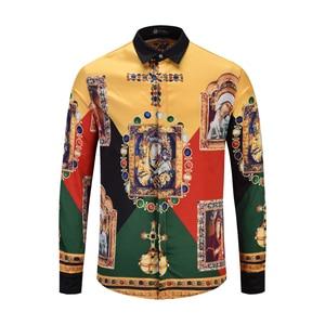 Image 1 - XIMIWUA 2019 New Arrival męska modna koszula luksusowa męska marka z długim rękawem Slim Fit koszula hawajska koszulka Homme