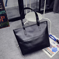 2016 Women Simple Style Casual Handbag Knitting Lady Shoulder Bag Solid PU Leather Fashion Bag High Quality Tote Female Bags