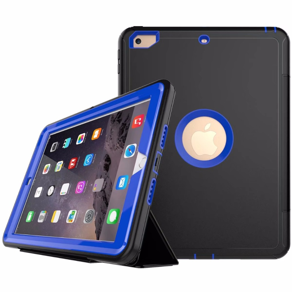Full protection Case For apple ipad 9.7 2017 Kids Safe Shockproof Heavy Duty TPU Hard Cover kickstand design for ipad A1822