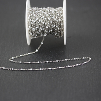 2mm Small Beading Chains,Wire Wrapped Golden Plated Stainless Steel Rosary Links Jewelry,White Enamel Round Beads Chains
