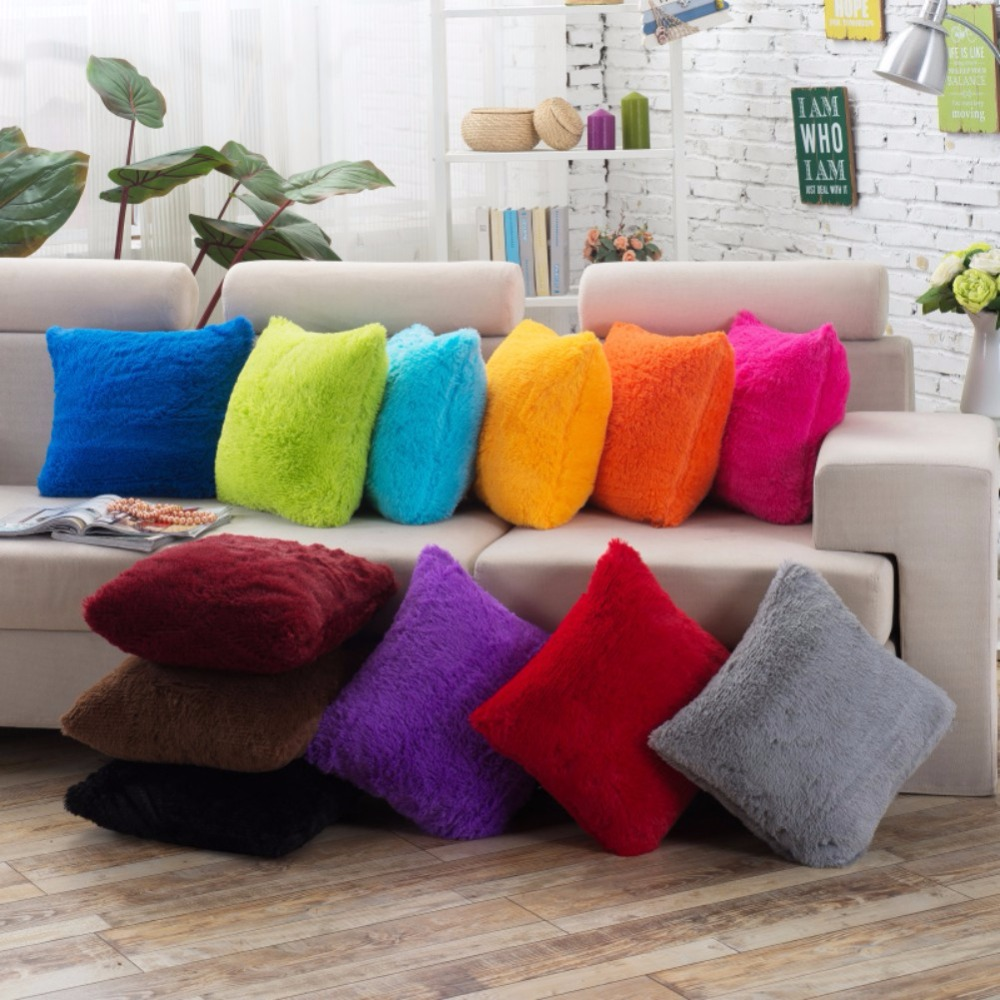 Soft Plush Bedroom Decorative Pillow Case Square Pillow Cover Plush Solid Color For Living Room