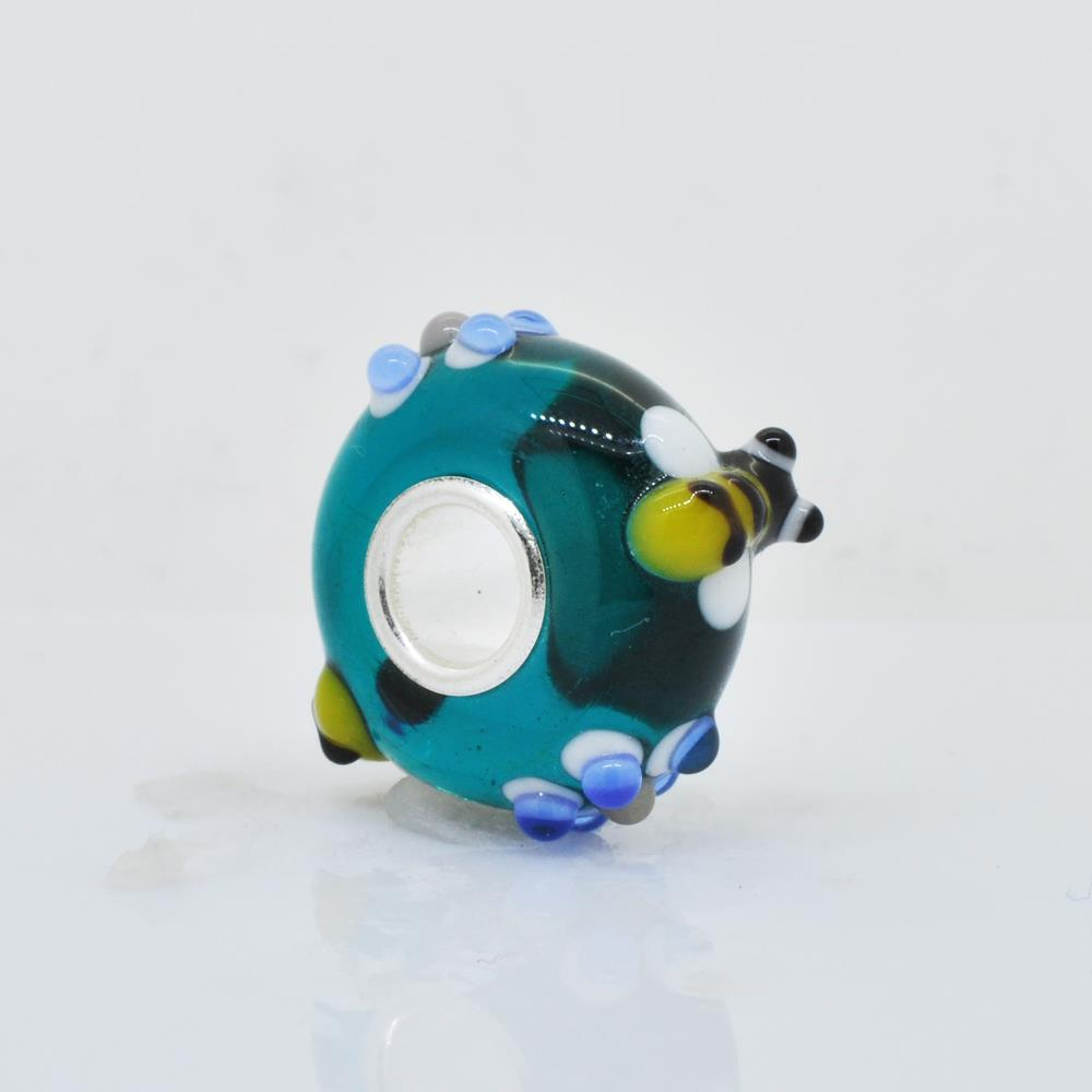 Bling Jewelry 925 Silver Teal Bee Flower Murano Glass Bead Charm NTqiVJh