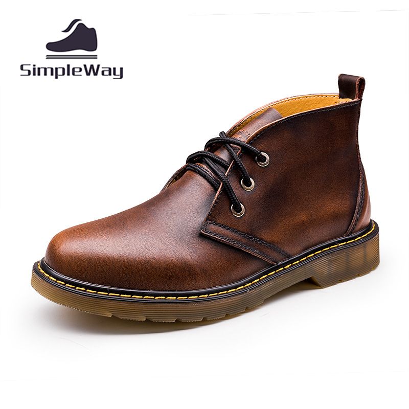 Men winter boots large size 45,46,47 leather ankle desert martin warm snow warm chelsea motorcycle rain boots zapatos hombre