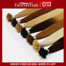 "FOREVER HAIR 0.8g/s 16"" 18"" 20"" Remy Pre Bonded Keratin Hair Extension European Hair On the Keratin Capsule Fusion Hair 50s/pac(China)"