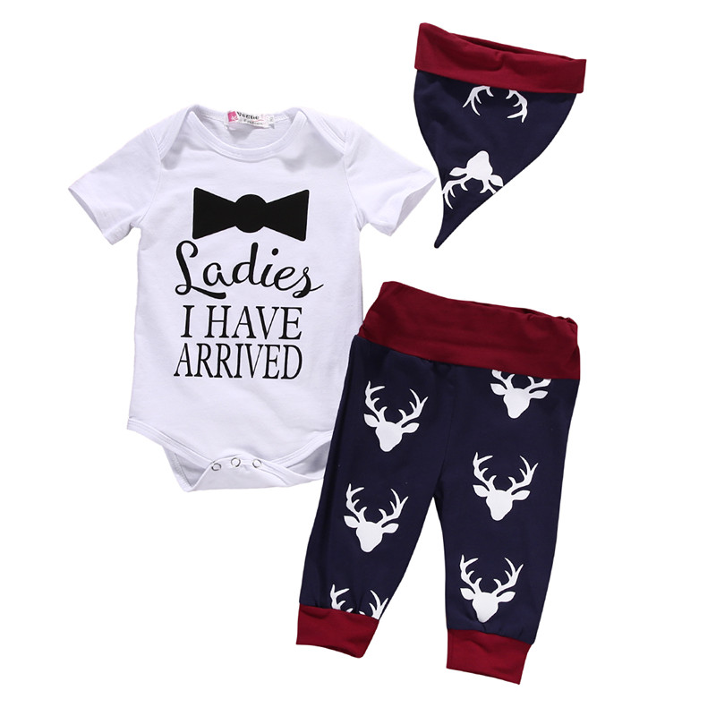 2016 Autumn New 3PC Xmas Newborn Baby Boys Girls Tops Romper Pants Hat Outfits Christmas Clothes Outfit